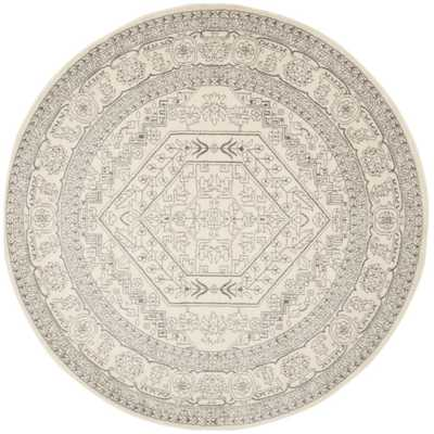 Adirondack Ivory/Silver 9 ft. x 9 ft. Round Area Rug - Home Depot