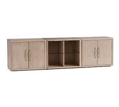 Danielle Double Two Door Cabinet TV Stand (2 Two Door Cabinets, Open Shelf) - Pottery Barn
