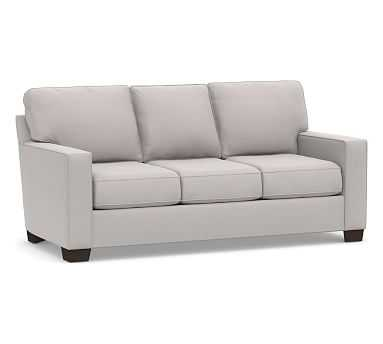 """Buchanan Square Arm Upholstered Sofa 83.5"""", Polyester Wrapped Cushions, Microsuede Dove Gray - Pottery Barn"""
