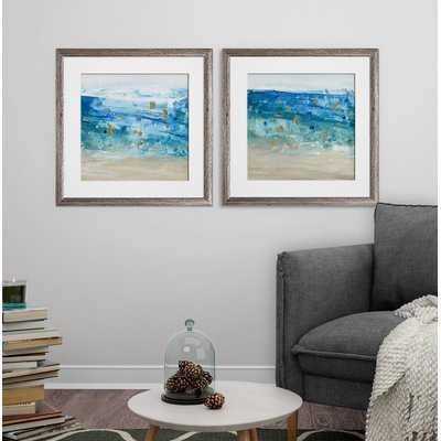 'Sea Glass Summer I' 2 Piece Framed Print Set - Wayfair