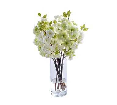 "Faux Cherry Blossoms In Glass Vase - White, 23"" - Pottery Barn"