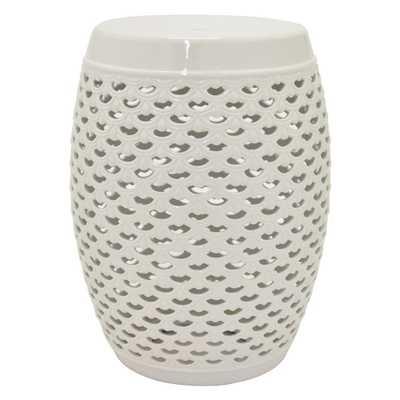 18 in. White Ceramic Garden Stool - Home Depot