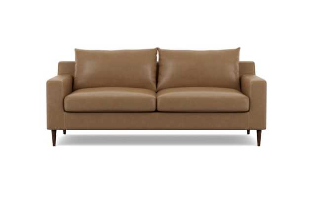 Sloan Leather Sofa with Brown Palomino Leather and Oiled Walnut legs - Interior Define