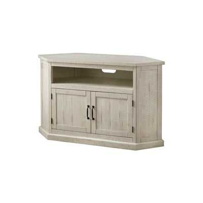 "Tacoma Solid Wood Corner TV Stand for TVs up to 60"" in Antique White - Wayfair"