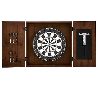 Dartboard Wood Cabinet Game Set, Mahogany stain - Pottery Barn