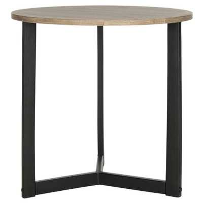 Ballard Oak and Black Storage End Table, Brown/Black - Home Depot
