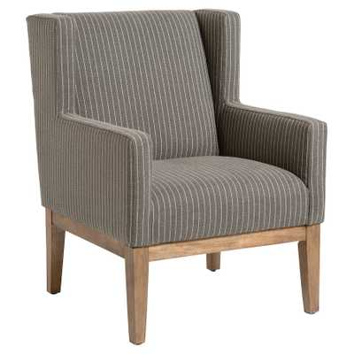 Portia Modern Grey Striped Upholstered Wood Wing Back Occasional Chair - Kathy Kuo Home