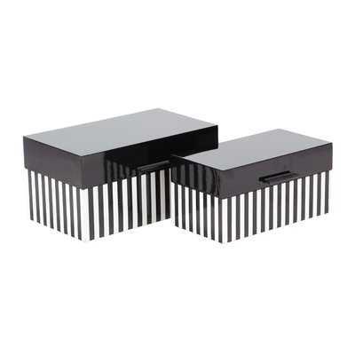Mattalyn Modern Striped 2 Piece Decorative Box Set with Lid - Wayfair