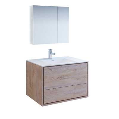 Fresca Catania 36 in. Modern Wall Hung Vanity in Rustic Natural Wood with Vanity Top in White with White Basin,Medicine Cabinet - Home Depot