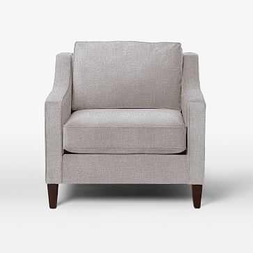Paidge Chair, Poly, Linen Weave, Platinum, Cone Chocolate - West Elm
