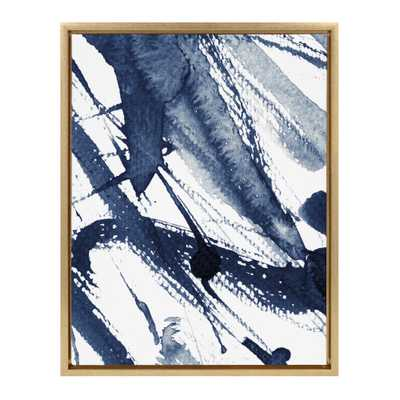 "Kate and Laurel Sylvie ""Indigo Watercolor"" by Amy Peterson Framed Canvas Wall Art, Gold - Home Depot"