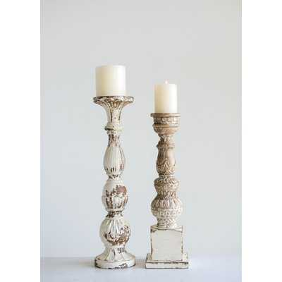 "Mango Wood Candlestick in 22"" H x 5.5"" W - Birch Lane"