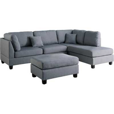 Madrid 3-Piece Reversible Sectional Sofa in Gray with Ottoman - Home Depot