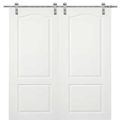 MMI Door 72 in. x 80 in. Primed Princeton Smooth Surface Solid Core Double Door with Barn Door Hardware Kit - Home Depot