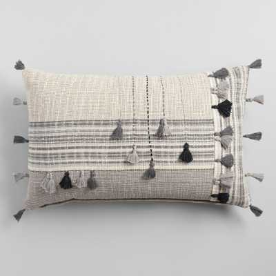 Gray Striped Embroidered Tassel Lumbar Pillow by World Market - World Market/Cost Plus
