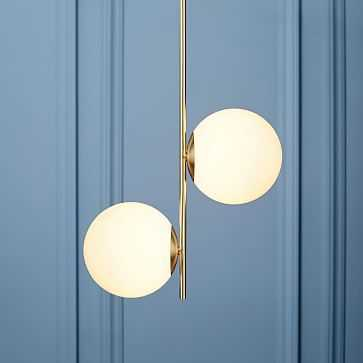 Sphere + Stem Pendant, Brass/Milk Glass, 2-Light - West Elm