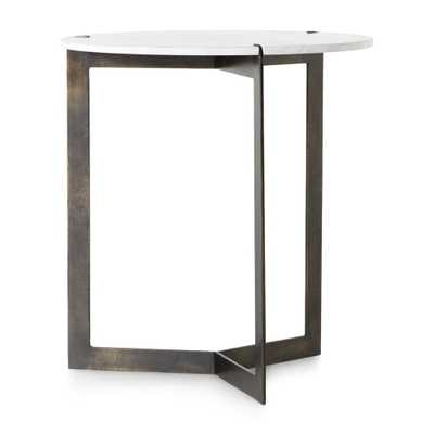 Kace White Marble End Table - Crate and Barrel
