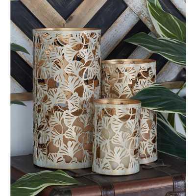 Uma Enterprises Washed Oak Brown Ginkgo Leaf Candle Lanterns (Set of 3) - Home Depot
