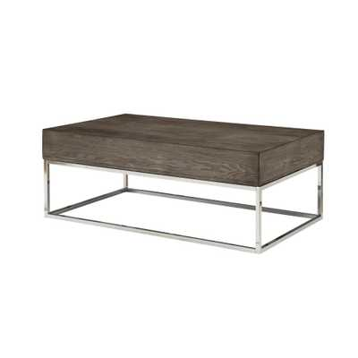 Acme Furniture Cecil II Gray Oak and Chrome Coffee Table - Home Depot