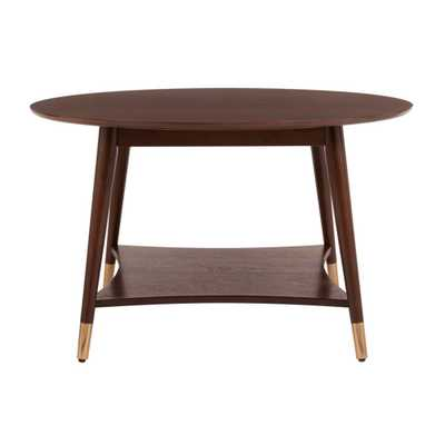 StyleWell Ramsey Round Sable Brown Wood Coffee Table with Brass Caps (31.89 in. W x 18.9 in. H) - Home Depot
