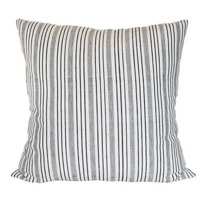 Handwoven Black and Cream Variegated Stripe Pillow cover and insert - PillowPia