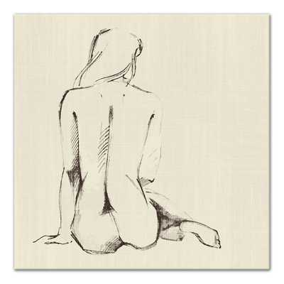 'Seated Nude Woman Sketch' Drawing Print on Wrapped Canvas - Wayfair