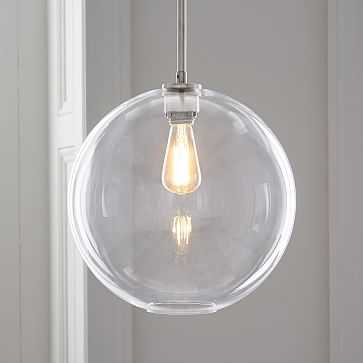 Sculptural Glass Globe Pendant, Large Globe, Clear Shade, Nickel Canopy - West Elm