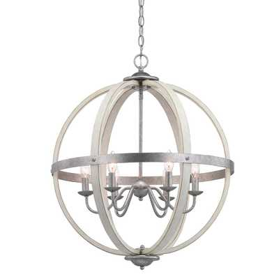 Progress Lighting Keowee 6-Light Galvanized Orb Chandelier with Antique White Wood Accents - Home Depot