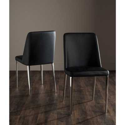 Baltic Black Bicast Leather Dining Chair (Set of 2) - Home Depot