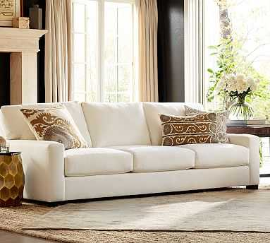 "Turner Square Arm Upholstered Grand Sofa 105"" without Nailheads, Down Blend Wrapped Cushions, Performance Everydaylinen(TM) by Crypton(R) Oatmeal - Pottery Barn"