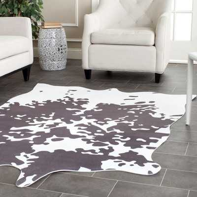Faux Hide Hand-Tufted Gray/White Area Rug - Wayfair