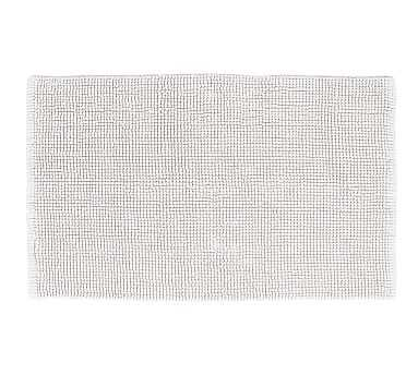 "Textured Organic Cotton Bath Rug, 24x64"", White - Pottery Barn"