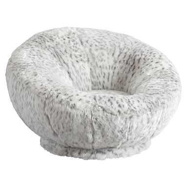 Gray Leopard Faux-Fur Groovy Swivel Chair - Pottery Barn Teen