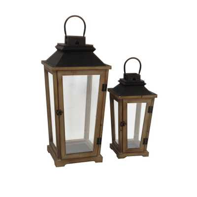 Home Decorators Collection Wood and Metal Square Lantern (Set of 2), antique - Home Depot