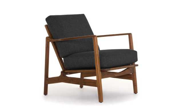 Black Graham Mid Century Modern Chair - Royale Gunmetal - Walnut - Joybird