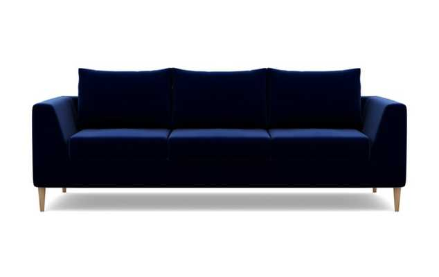 Asher Sofa with Blue Bergen Blue Fabric and Natural Oak legs - Interior Define