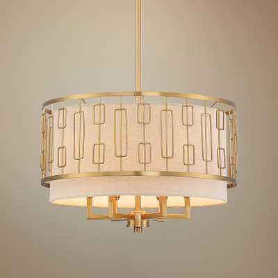 """Colfax 18"""" Wide Warm Antique Brass Drum Pendant Light - Style # 71D52 - Lamps Plus"""