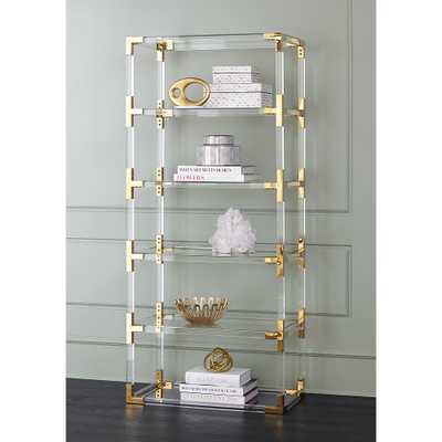 Hanna Clear Acrylic and Gold 6-Shelf Open Bookcase - Style # 32P94 - Lamps Plus