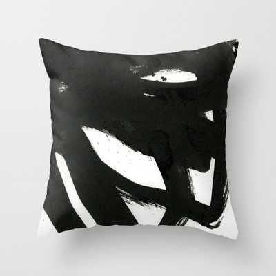 """black on white 1 Throw Pillow - Indoor Cover (16"""" x 16"""") with pillow insert by Patternization - Society6"""