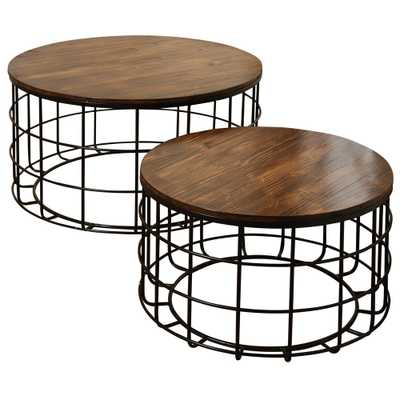 StyleCraft Round Wood Nested Chinese Cherry Wood Top Black Powder Coat Frame Coffee Tables Set (2-Piece) - Home Depot