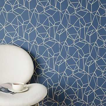 Chasing Paper Geo Prisms Wallpaper, Navy/White - West Elm
