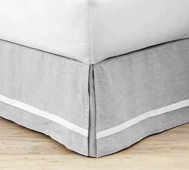 Belgian Flax Linen Contrast Flange Bed Skirt, Queen, Smoke - Pottery Barn