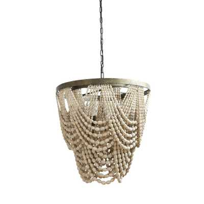 3R Studios Mint and Mist 3-Light Natural Beaded Chandelier - Home Depot
