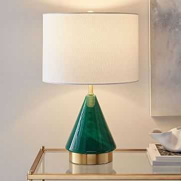 Metalized Glass Table Lamp + USB, Small, Green, Individual - West Elm