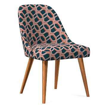 Midcentury Upholstered Dining Chair, Wood Leg, Pink Stone, Modern Caning, Pecan - West Elm