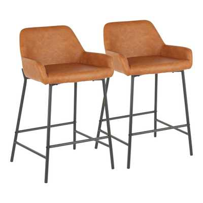 LumiSource Daniella 24 in. Industrial Counter Stool in Camel Faux Leather Industrial Counter Stool (Set of 2) - Home Depot