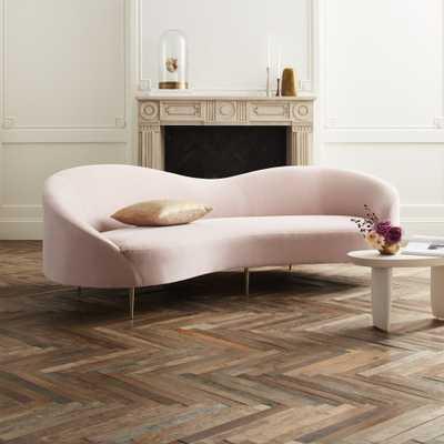 Curvo Pink Velvet Sofa - CB2