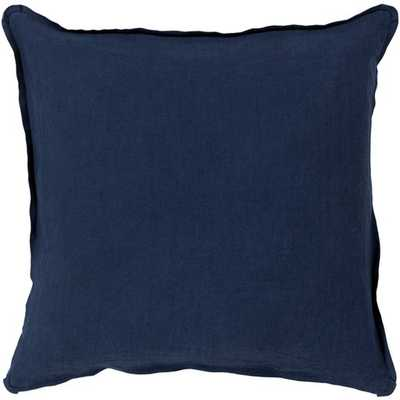 Solid Navy Pillow 20x20 with Down Insert - Neva Home