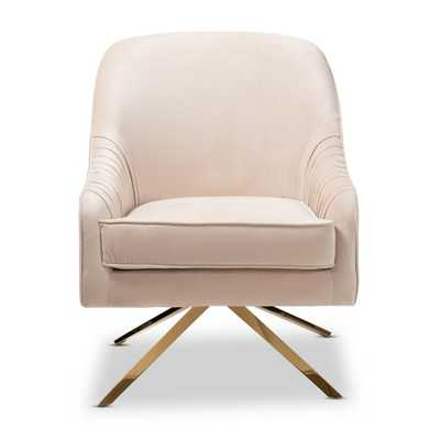 Amaya Light Beige and Gold Fabric Lounge Chair - Home Depot