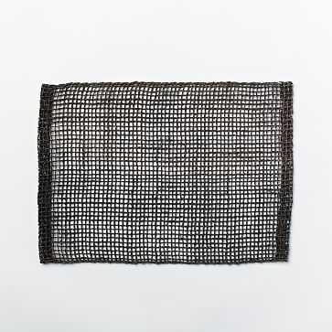 Fishnet Woven Placemats, Set of 2, Black - West Elm